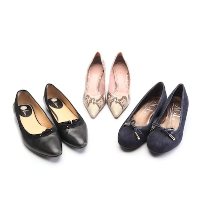 Cole Haan Black Flats, AGL Navy Suede Pumps, and Coach Python Print Print Pumps