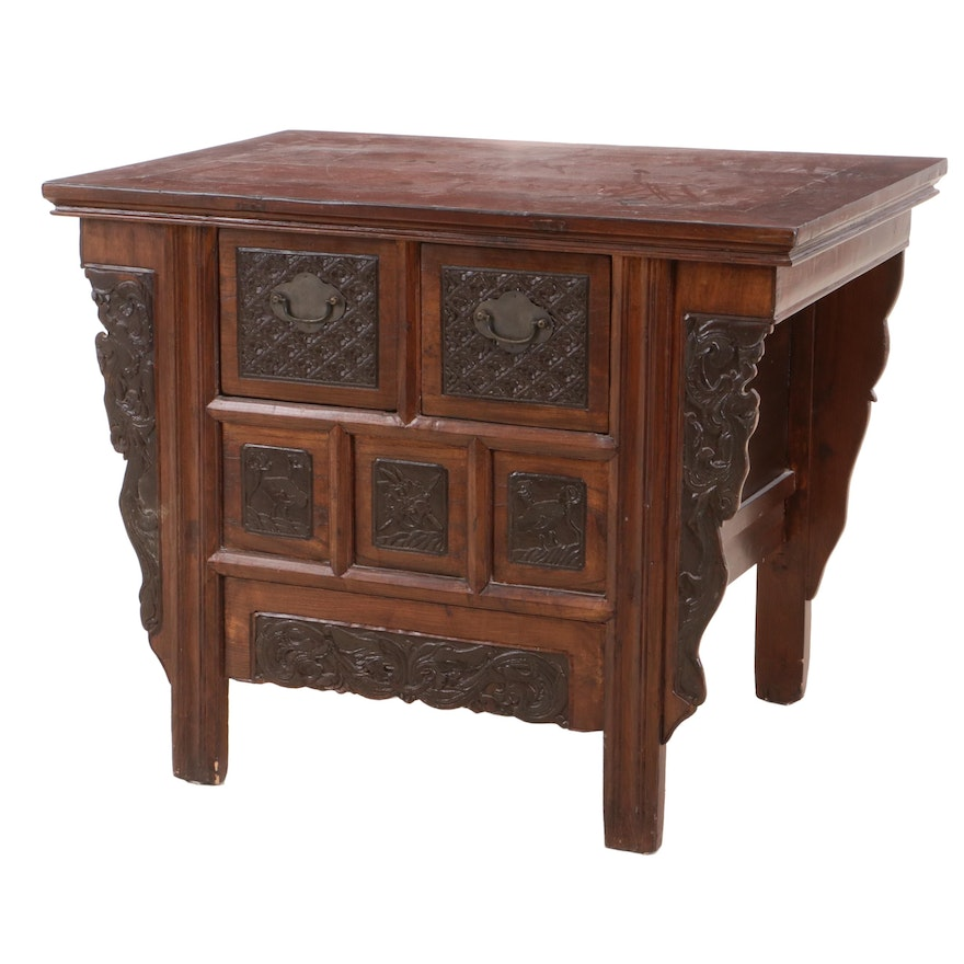 Chinese Carved Wooden Side Cabinet, Mid to Late 20th Century