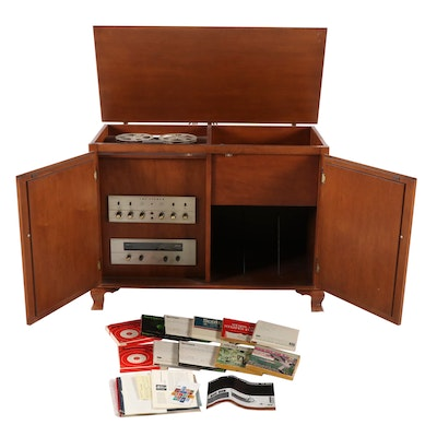 Colonial Revival Style Maple Stereo Cabinet with Reel to Reel