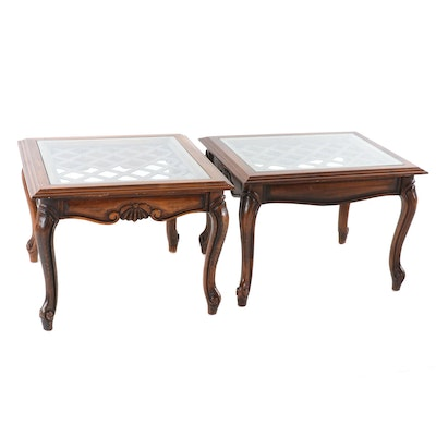 Pair of Transitional Style Wooden Glass Top Side Tables