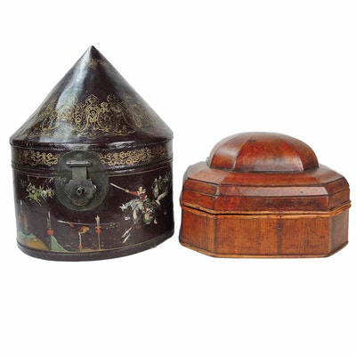 Chinese Wooden Hat Boxes