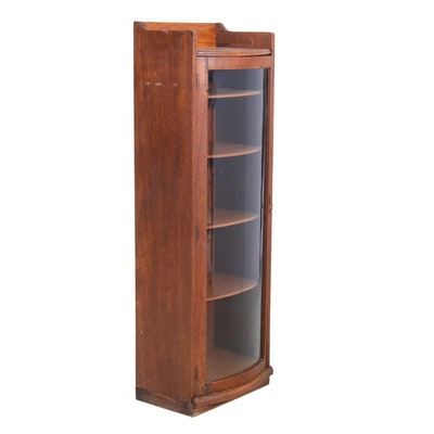 Oak Bow Front Display Cabinet, Early 20th Century