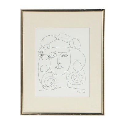 Serigraph After Pablo Picasso Line Portrait
