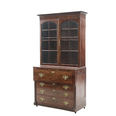 Flame Mahogany Empire Period Secretary Attributed to Fiske Family of Boston