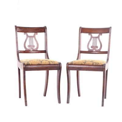 Federal Style Walnut Lyre-Back Side Chair, Early to Mid 20th Century