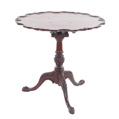 Chippendale Style Mahogany-Finish Tilt-Top Table, 20th Century