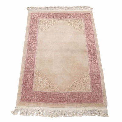 Hand-Knotted Sino-Tibetan Sculpted Wool and Cotton Rug