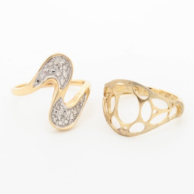 14K Yellow Gold Openwork Ring and Diamond Ring
