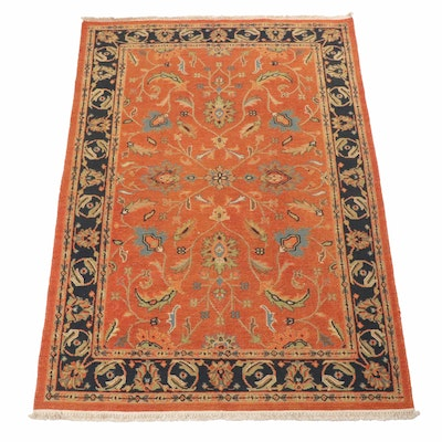 Hand-Knotted Indo-Turkish Oushak Chain Stitch Rug