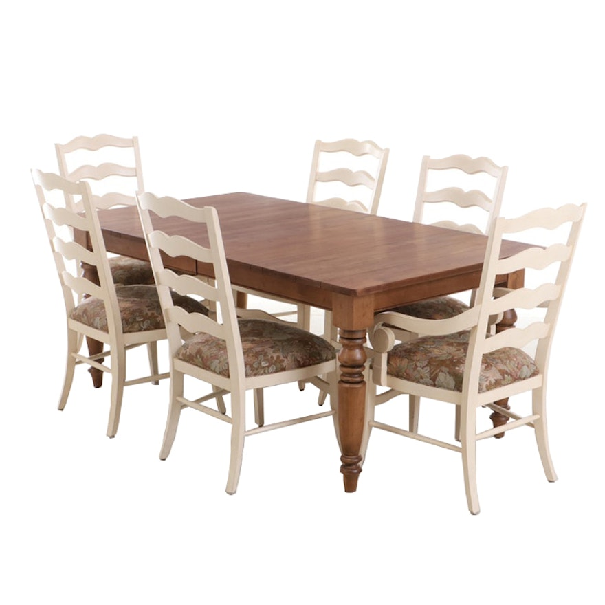 Ethan Allen Farm Table and Six Ladderback Chairs