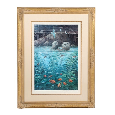 "Robert Lyn Nelson Offset Lithograph ""Nature's Union at Monterey"""