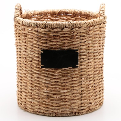 Contemporary Woven Natural Fiber Basket with Chalkboard Plaques