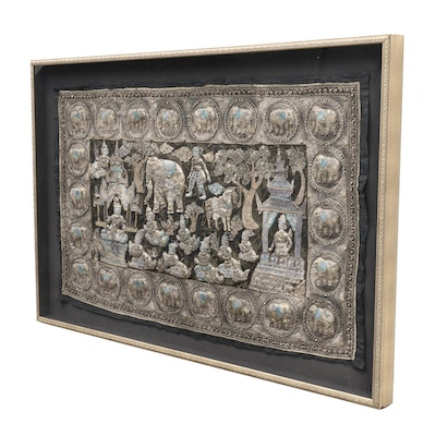 Hand Embroidered Burmese Kalaga Tapestry Featuring Figures and Elephants