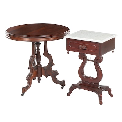 Victorian Walnut Side Side Table and a Marble Topped Lyre-Base Side Table