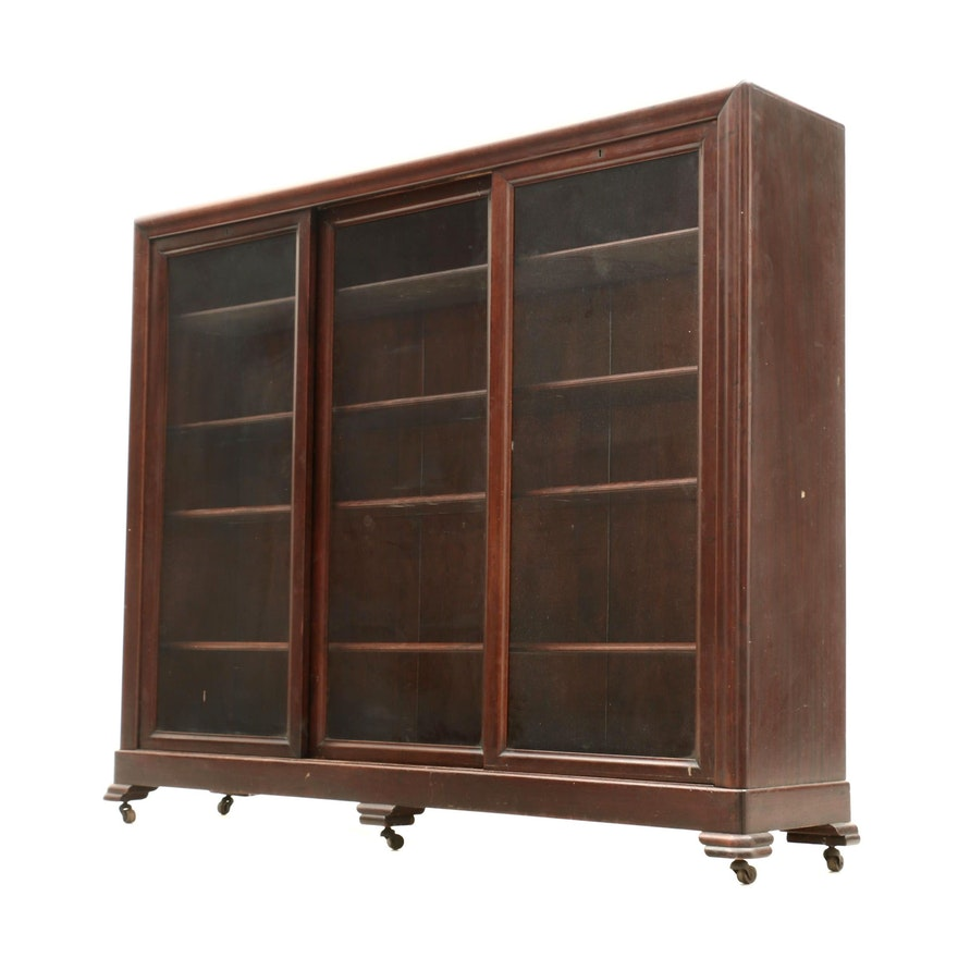 Colonial Revival Mahogany Cabinet Bookcase, Early 20th Century