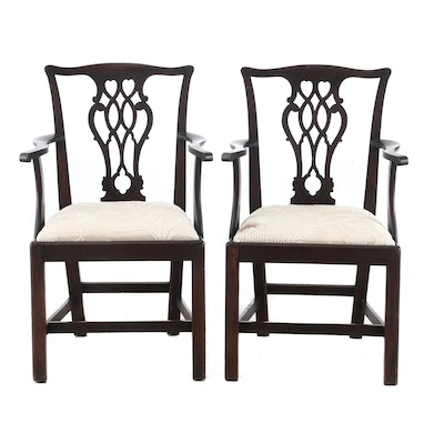 Pair of Mahogany Chippendale Arm Chairs, Late 18th Century