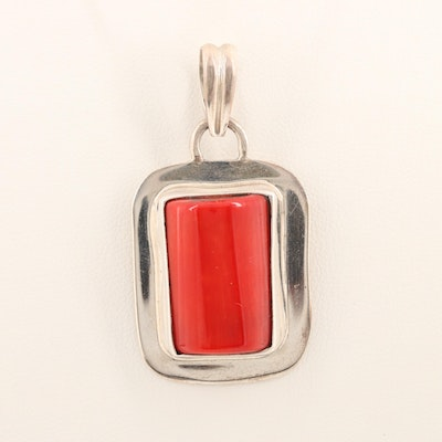 Sterling Silver Dyed Coral Pendant