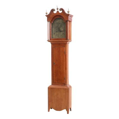 18th Century Robert Wright Scottish Tall Case Clock with Engraved Brass Face