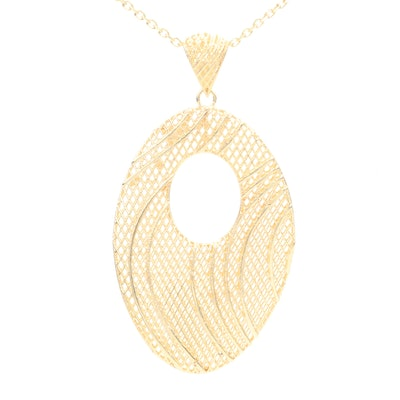 14K Yellow Gold Pendant and Chain