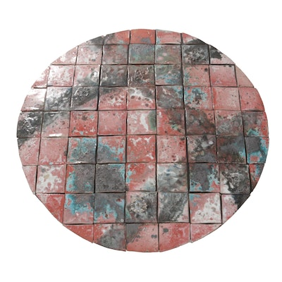 Mounted Raku Fired Glazed Tile Wall Hanging, Contemporary