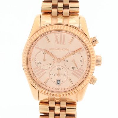 Michael Kors Lexington Gold Tone Quartz Chronograph Wristwatch
