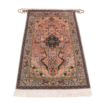 Hand-Knotted Persian Qum Pictorial Silk Prayer Rug on Hanging Display Rod