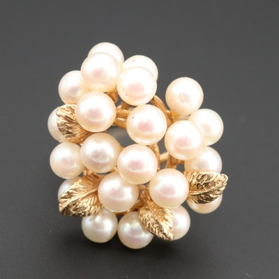 14K Yellow Gold Cultured Pearl Floral Cluster Ring