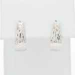 14K White Gold Textured J Hoop Earrings