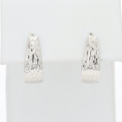 14K White Gold Textured J Hoop Earrings
