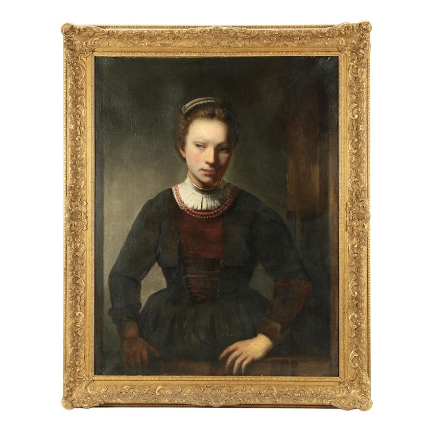 Dutch Style Portrait of a Gentlewoman Oil Painting
