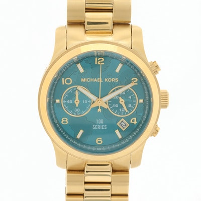 Michael Kors Hunger Stop Gold Tone Quartz Chronograph Wristwatch