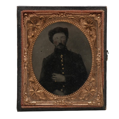 Civil War Era 1/9 Plate Cased Ambrotype of Union Soldier