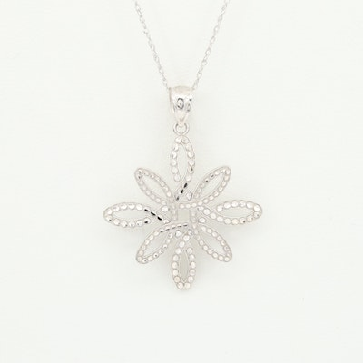14K White Gold Pendant and Necklace