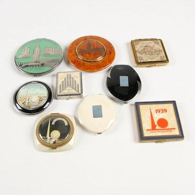 Art Deco 1933 and 1939 World's Fairs Souvenir Makeup Compacts