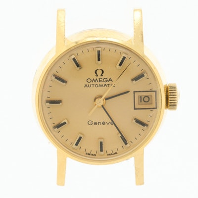 Vintage Omega Geneve 18K Yellow Gold Automatic Watch