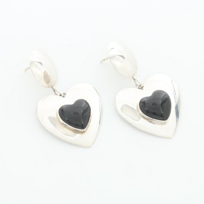 Southwestern Style Sterling Silver Black Onyx Heart Dangle Earrings