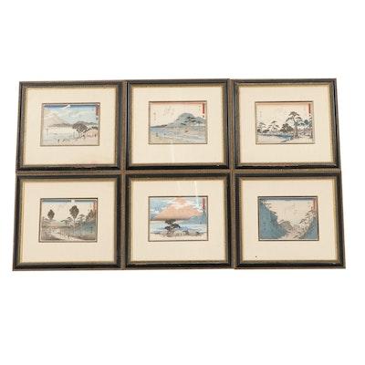 "Miniature Ukiyo-e Prints After Hiroshige ""Fifty-three Stations of the Tōkaidō"""