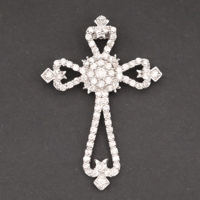 14K White Gold 1.38 CTW Diamond Cross Pendant