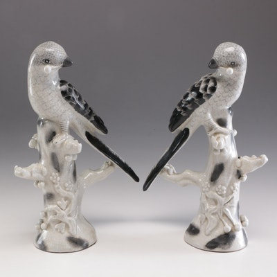 Chinese Porcelain Parakeet Mantel Figures, Mid-20th Century