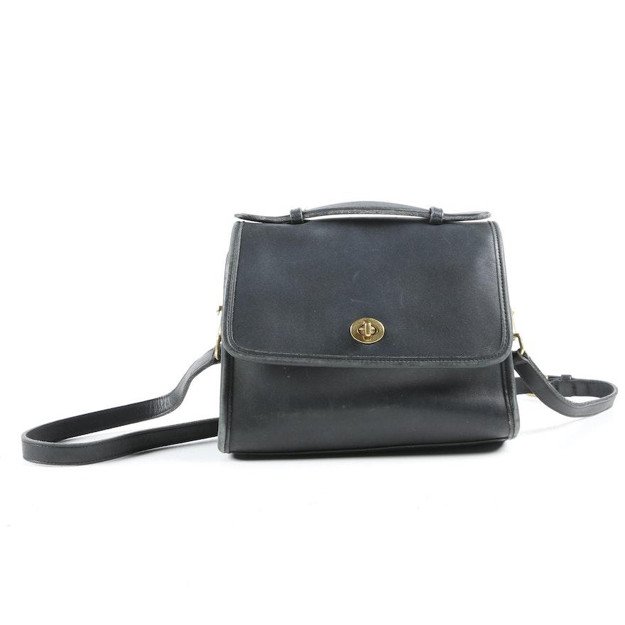 Coach Court Bag in Black Leather, 1980s Vintage