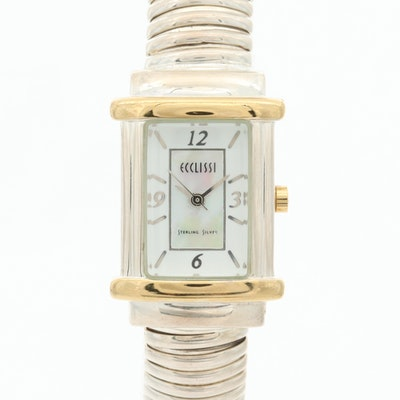 Sterling Silver Ecclissi Quartz Wristwatch With Mother of Pearl Dial