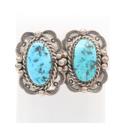 Signed Navajo Diné Sterling Silver Turquoise Stampwork Earrings