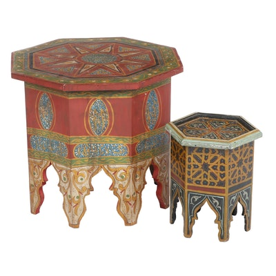 Two Moroccan Geometric-Painted Wooden Accent Tables