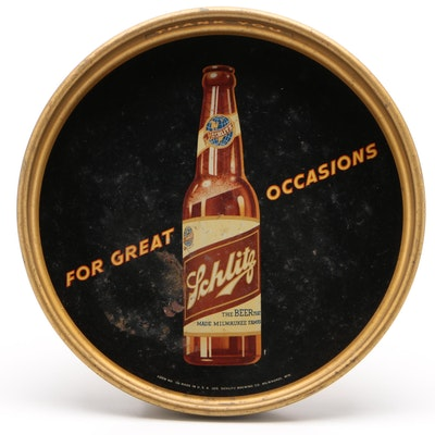 Schlitz Enamel Advertising Beer Tray, Early to Mid 20th Century