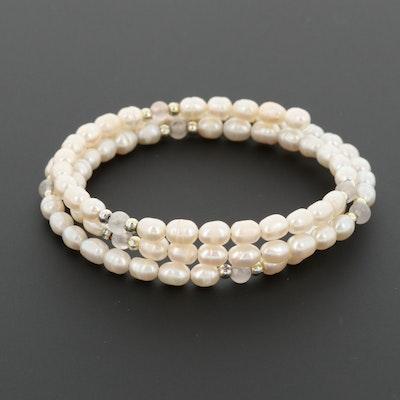 Cultured Pearl and Quartz Wrap Bracelet