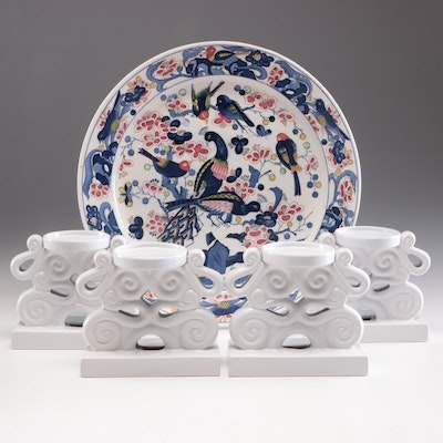 Chinese Candle Holders and Decorative Plate