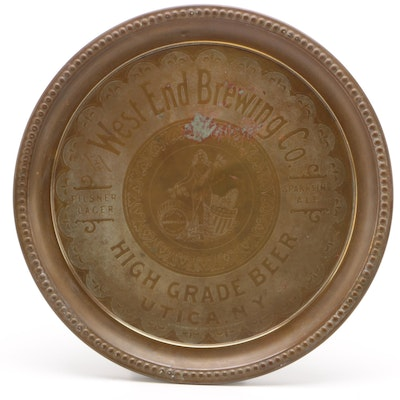 West End Brewing Company Pre-Prohibition Brass Beer Tray, Early 20th Century