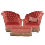 Pair of Tufted Upholstered Asymmetrical Chairs with Matching Ottoman
