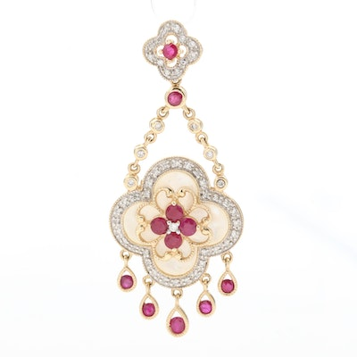 14K Yellow Gold Diamond, Ruby and Mother of Pearl Pendant