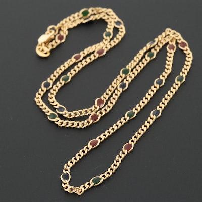 14K Yellow Gold Enamel Station Necklace